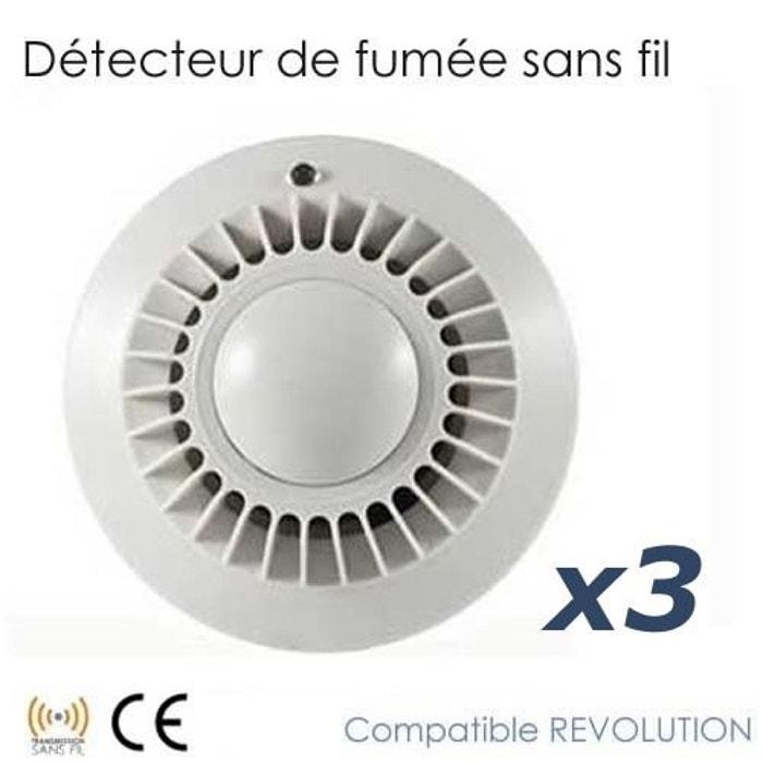 pack de 3 d tecteur de fum e revolution couleur unique securite good deal la redoute. Black Bedroom Furniture Sets. Home Design Ideas
