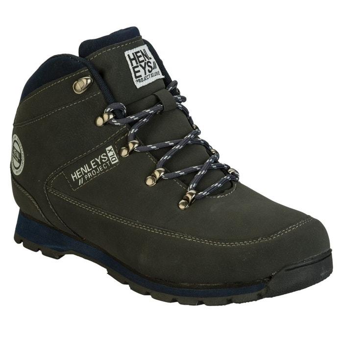Henleys bottes hiker pour homme, gris foncé, synthétique, à lacets gris foncé Henleys