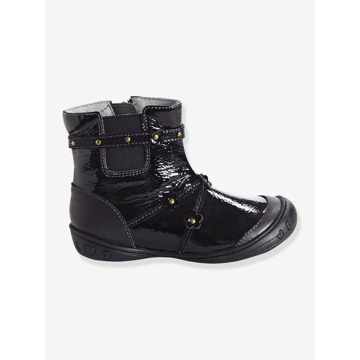587e8f54f3692 Boots cuir fille collection maternelle noir multicolore Vertbaudet ...