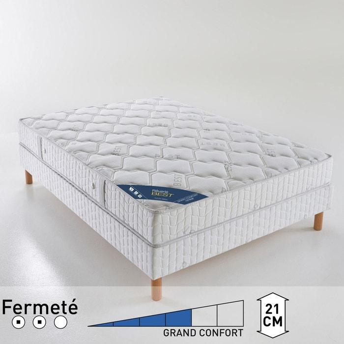 Matelas latex grand confort ferme haut 21 cm blanc reverie best la redoute - Matelas camping grand confort ...