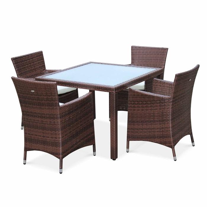 Salon de jardin en r sine tress e chocolat 4 fauteuils - La redoute table de jardin en resine tressee ...