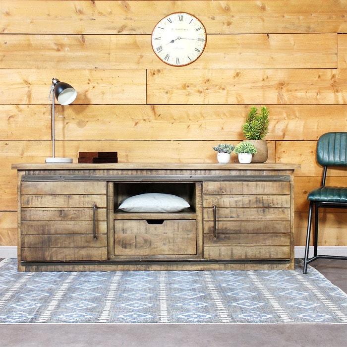 meuble tv industriel en bois vieilli if626a 1801 4 marron made in meubles la redoute. Black Bedroom Furniture Sets. Home Design Ideas