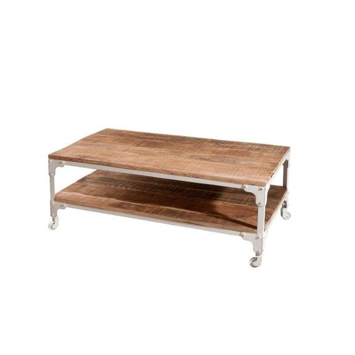 abf1eae920bbbb Table basse manguier et métal double plateau 111x61 ralf bois clair ...