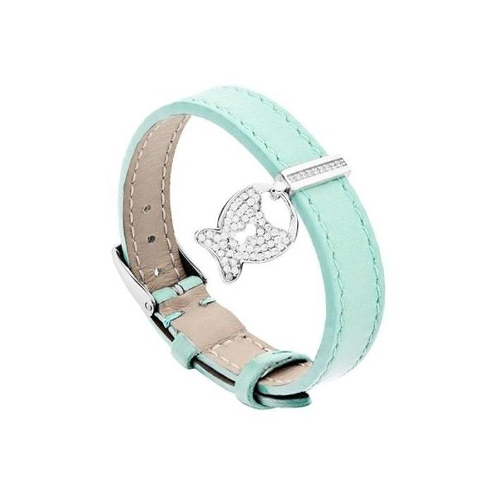 Bracelet poisson d'amour en cuir et argent 925 rhodié, brillants, bleu, 6g bleu Clio Blue | La Redoute