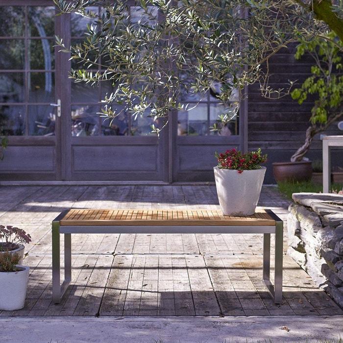 Banc de jardin en bois de teck et inox arno teck Tikamoon | La Redoute