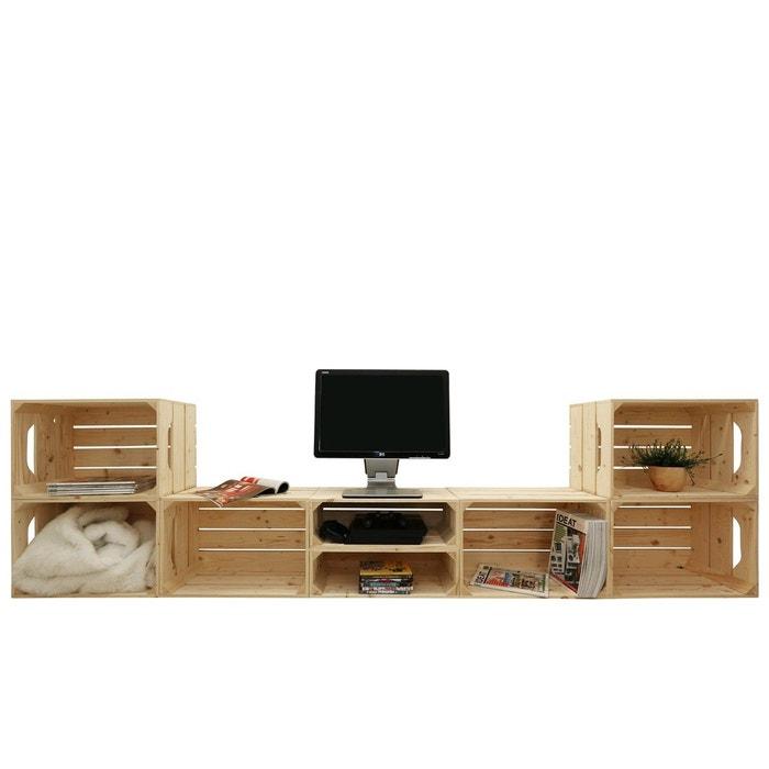 meuble tv modulable 8 niches de rangement marron simply a box la redoute. Black Bedroom Furniture Sets. Home Design Ideas