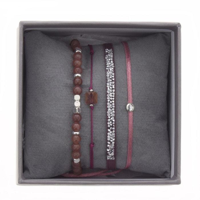 Coffret les interchangeables, bracelets en satin rose, cristal blanc et jade blanc Les Interchangeables | La Redoute