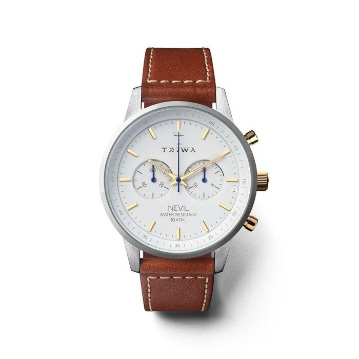 Montre unisexe analogique bracelet cuir tannage végétal boitier 42 mm chrono marron Triwa   La Redoute Pré-commander oumgGpQWJq