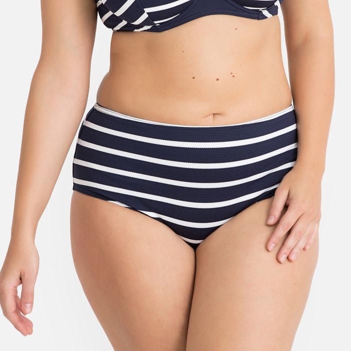 12fc41a8392 Textured Striped High Waist Bodyshaping Bikini Bottoms