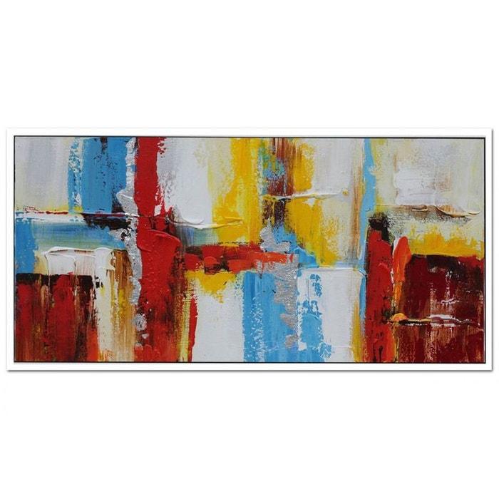 Tableau abstrait couleurs primaires vives toile sur cadre 60x120cm pier import image 0