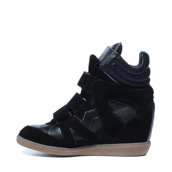 Chaussures à semelles compensées avec velcro beige Sacha