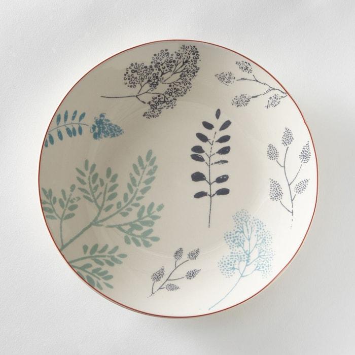 Assiette plate motif herbier, lot de 4