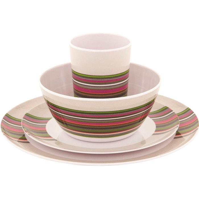 Blossom vaisselle 4 persons violet blanc violet outwell la redoute - La redoute vaisselle ...
