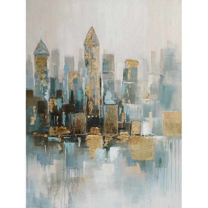 Tableau 90x120 buildings peinture et métal pier import image 0