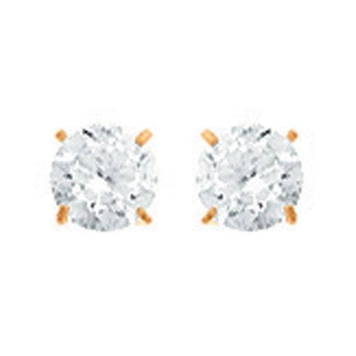 Boucles d'oreilles puce 4 mm oxyde de zirconium or jaune 750/000 (18 carats) couleur unique So Chic Bijoux | La Redoute Acheter Pas Cher Pas Cher qd2jvGh