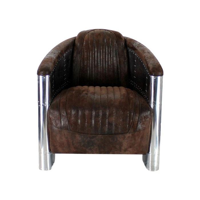 fauteuil club tissu marron vintage aviator kha home. Black Bedroom Furniture Sets. Home Design Ideas