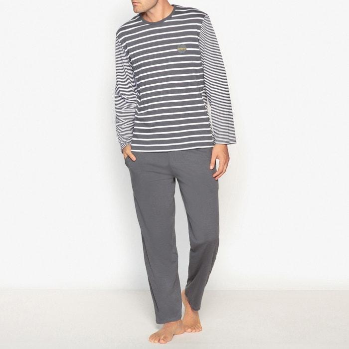 Pyjama, Oberteil gestreift, lange Ärmel, 100% Baumwolle  ATHENA image 0