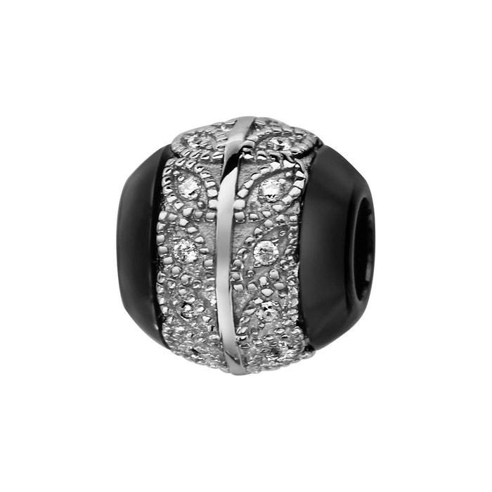 Wiki Sortie Charm boule céramique noire feuilles oxyde de zirconium blanc argent 925 À Jour sDbN6Wln