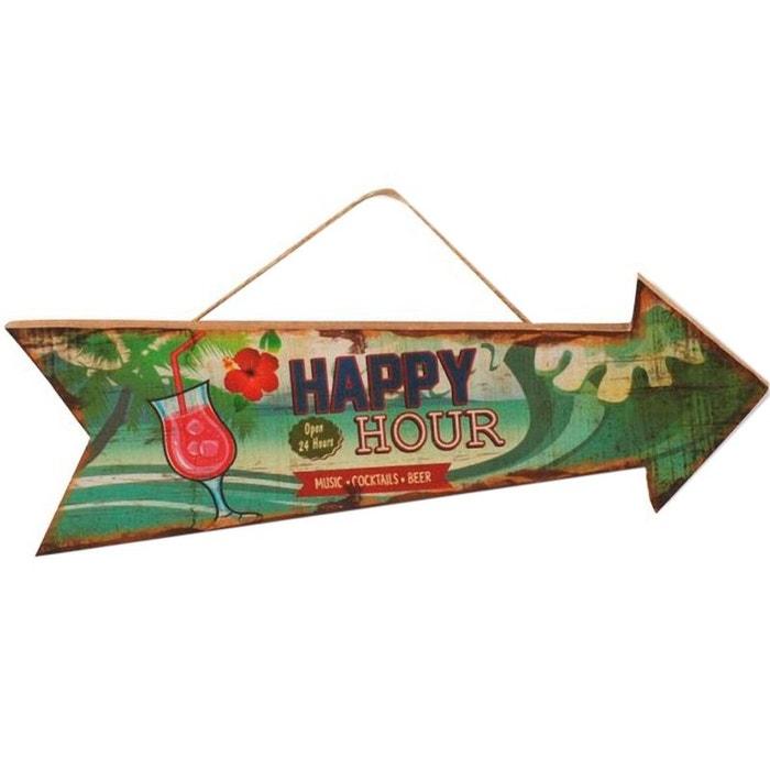 D coration murale en bois suspendre fl che happy hour for Decoration murale fleche