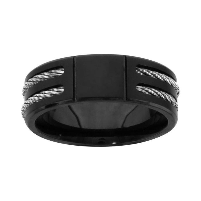 Bague double câble gris noir acier inoxydable couleur unique So Chic Bijoux   La Redoute Prix Le Plus Bas Pas Cher xERWimC