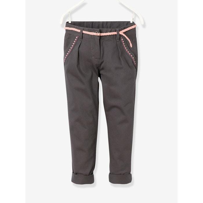 Pantalon chino fille avec ceinture