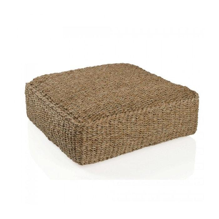 grand pouf carr en rotin marron wadiga la redoute. Black Bedroom Furniture Sets. Home Design Ideas