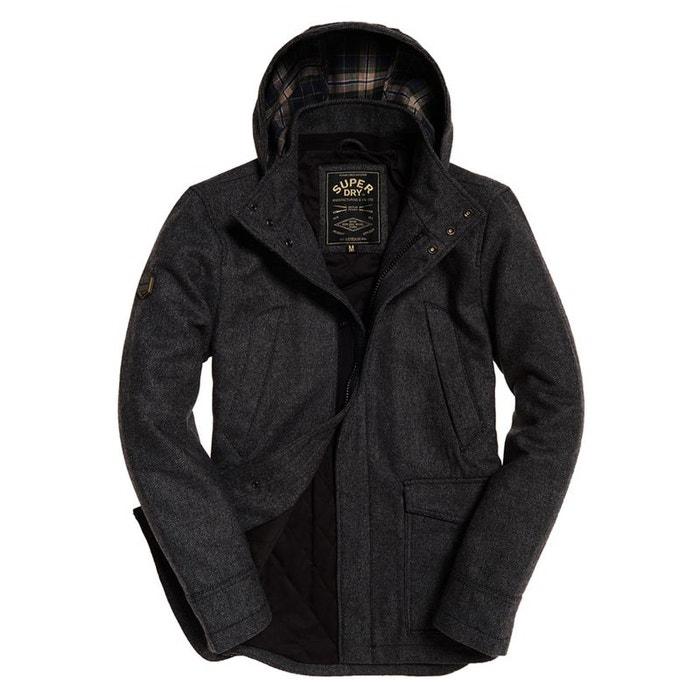 670f74114b4b4 Superdry manteau en laine à capuche gyton anthracite Superdry   La Redoute