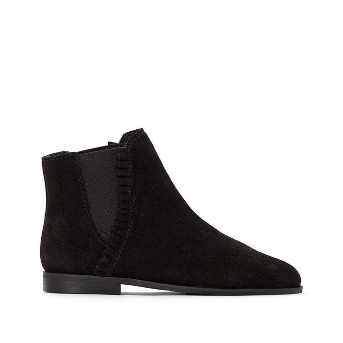 Boots Noir Collections Redoute Cuir Chelsea Détail Volant La qc46BaZqv