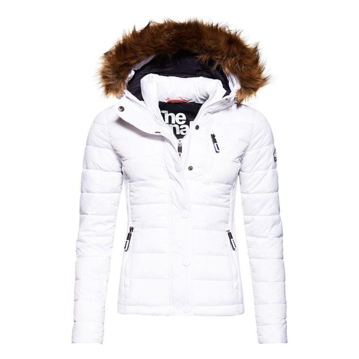 35be1200e21f Veste à capuche à double zip fuji slim blanc Superdry