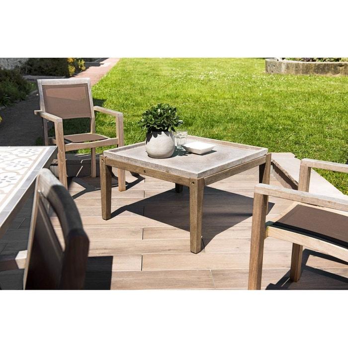 Table basse de jardin carrée maison de campagne en bois acacia et béton  84x84cm SUMMER