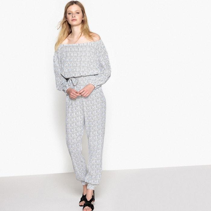 combinaison pantalon imprim e imprim blanc bleu la redoute collections la redoute. Black Bedroom Furniture Sets. Home Design Ideas