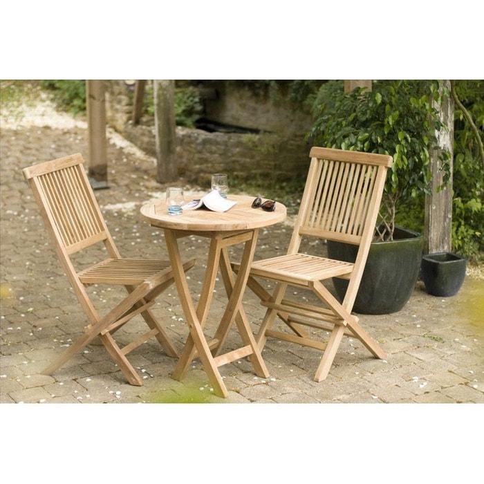 Salon de jardin en teck table ronde 2 chaises 60cm summer table bois ...