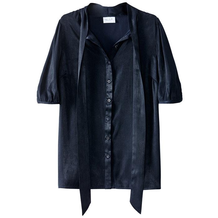 Блузка однотонная с короткими рукавами  и воротником-поло  VILA image 0