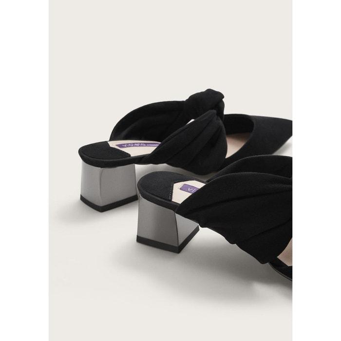 Mules àtalon cuir noir Violeta By Mango