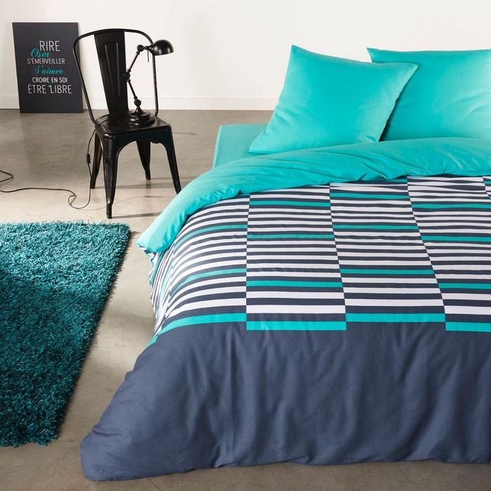 parure de lit pur coton irregular stripes bleu la redoute interieurs la redoute. Black Bedroom Furniture Sets. Home Design Ideas