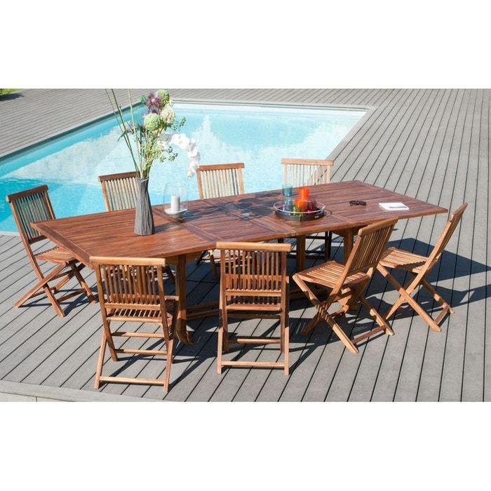 Table de jardin extensible en teck huil massif 200 for Table de jardin la redoute
