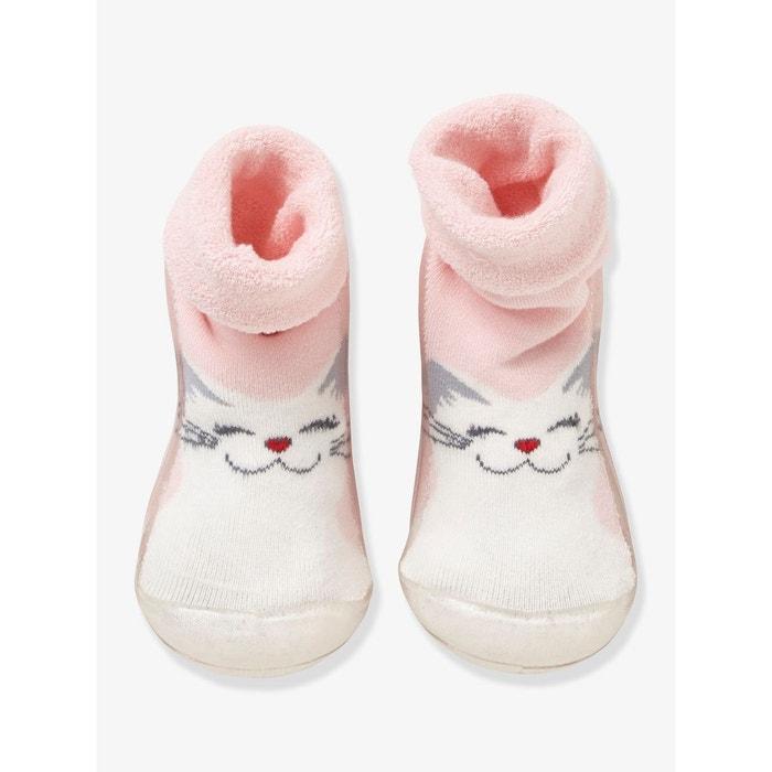 Chaussons-chaussettes fille antidérapants rose imprimé Vertbaudet   La  Redoute 4c6c30490975