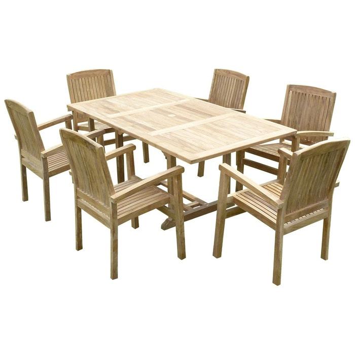 Ensemble salon de jardin en teck SUNANG 6 fauteuils AUDIA