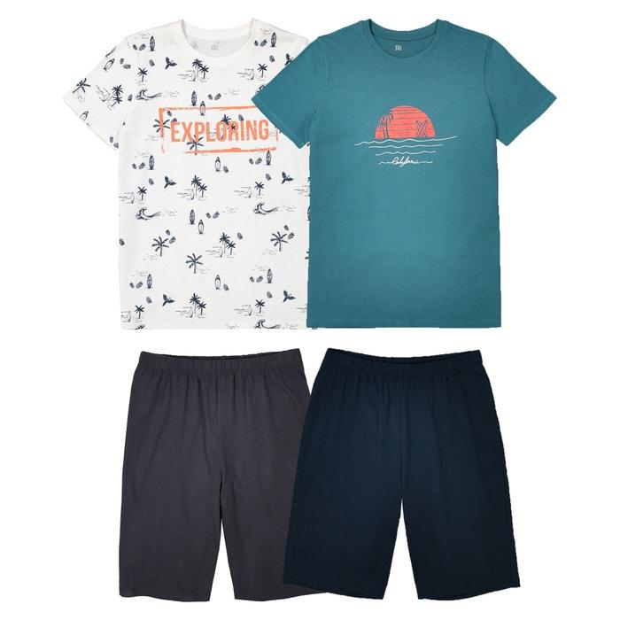 495ed9d64b67b0 Lot de 2 pyjashorts imprimés, 10- 16 ans La Redoute Collections blanc +  bleu   La Redoute