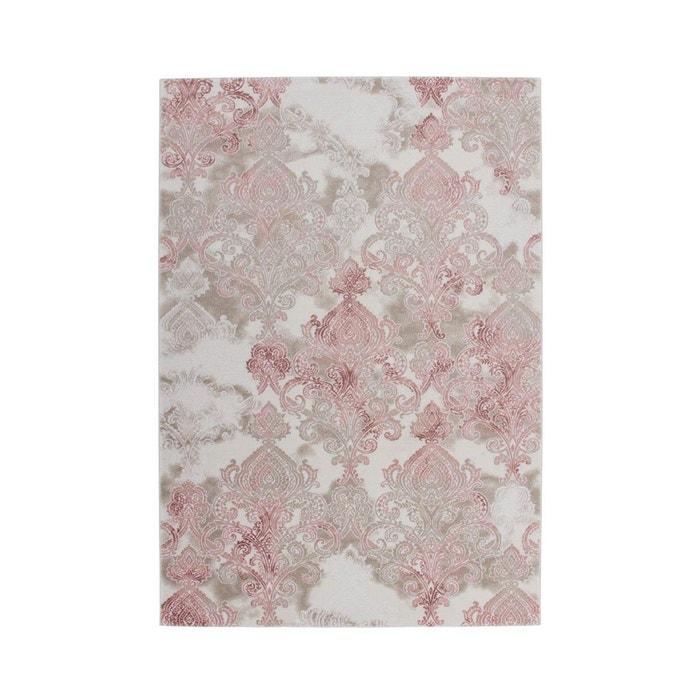 tapis de salle manger rose avec effet 3d indila allotapis image 0
