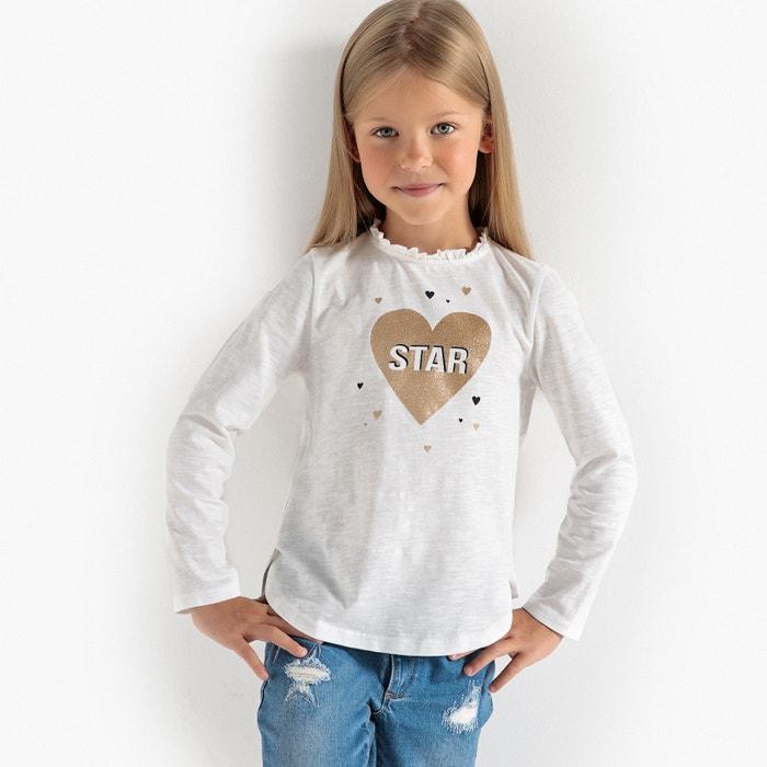 "T-shirt maniche lunghe ""cuore con paillettes"" 3 - 12 anni  La Redoute Collections image 0"