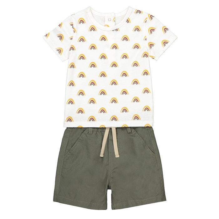 9cc2403b742d3 Ensemble 2 pièces t-shirt et short 3 mois-3 ans beige + kaki La Redoute  Collections
