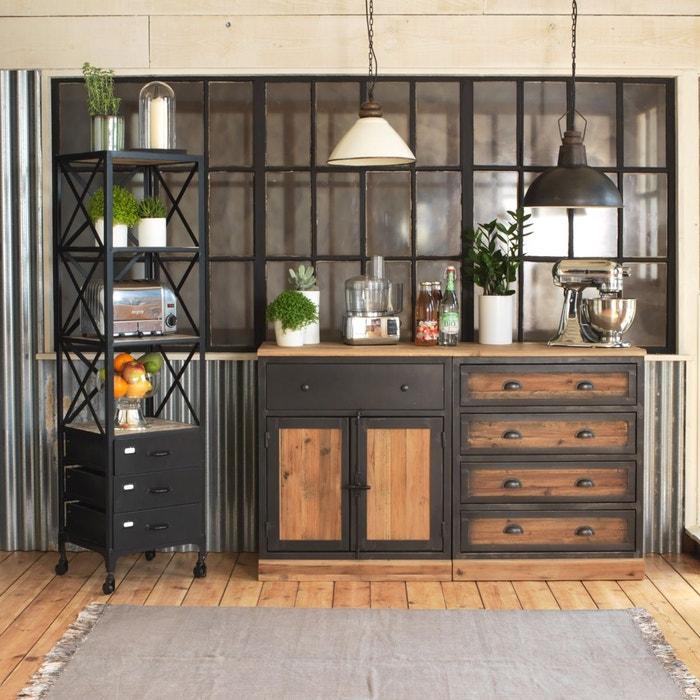 Buffet 4 tiroirs bois et m tal plinthe bois lop111 bois made in meubles la redoute - Meuble cuisine en metal ...
