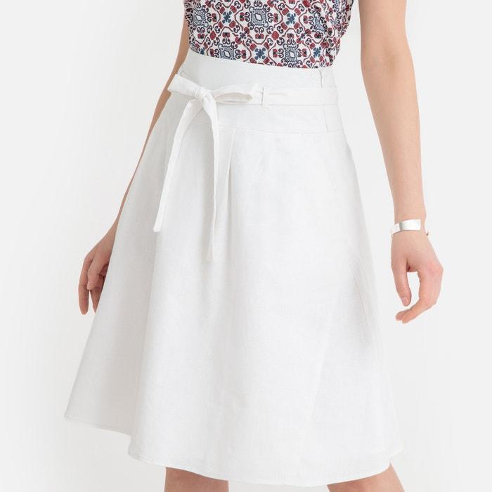 7a55c9ea1360 Linen blend tie-waist skirt Anne Weyburn | La Redoute