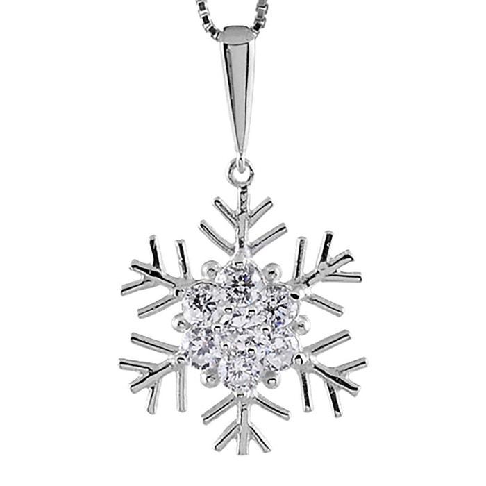 Collier femme longueur réglable: 42 à 45 cm pendentif flocon de neige oxyde de zirconium blanc argent 925 couleur unique So Chic Bijoux   La Redoute
