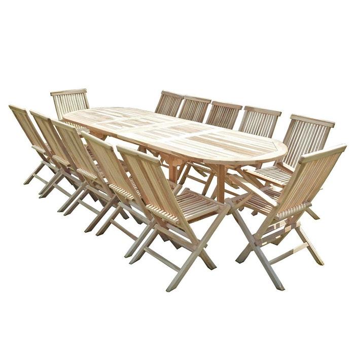 Ensemble salon de jardin en teck henua 10 chaises 2 fauteuils ...