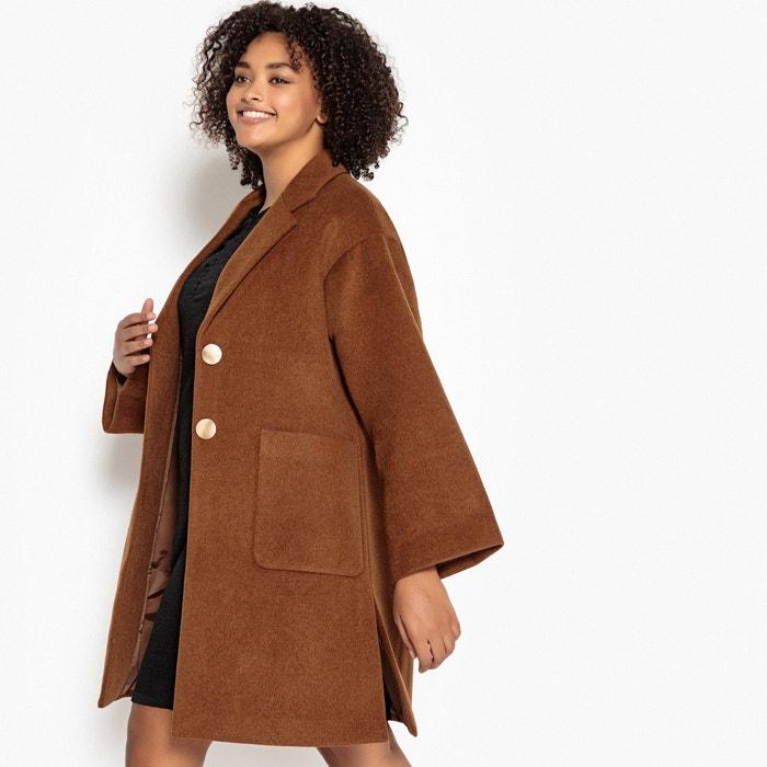 ce837272f9366 Manteau col châle en laine mélangée Castaluna camel | La Redoute