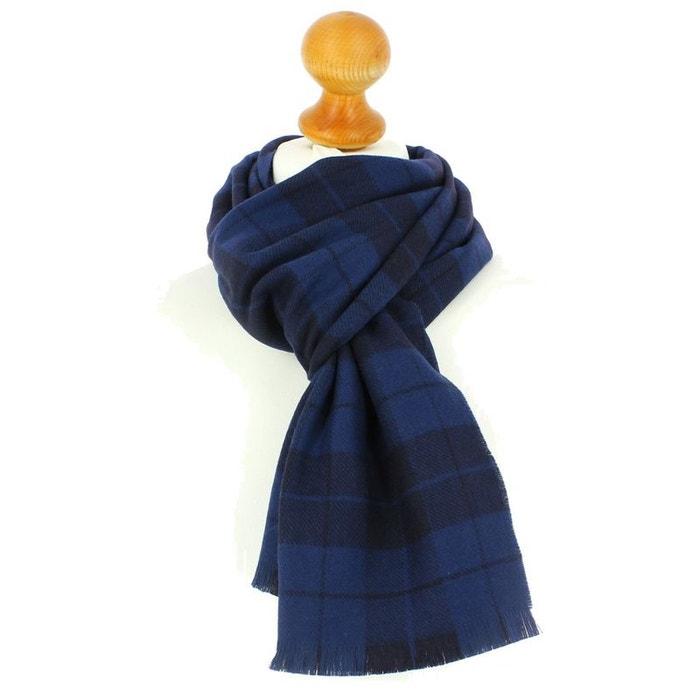 Echarpe à carreaux en laine d'australie, 35x180cm, bleu lagune bleu Tony Et Paul | La Redoute