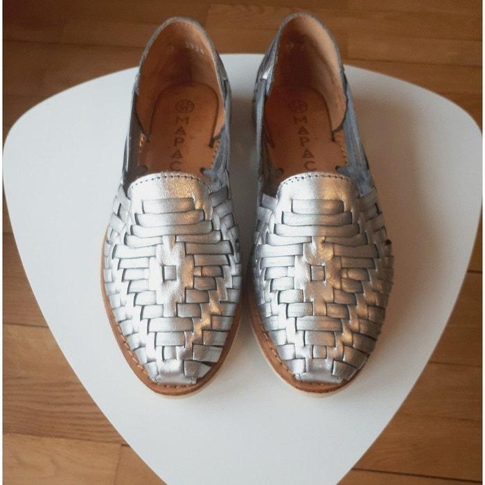 Chaussures plates dété à enfiler en cuir tressé de couleur Mapache