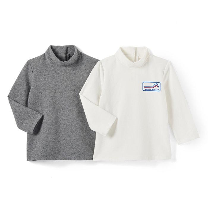 Camiseta con cuello vuelto ML 1 mes - 3 años (lote de 2)  La Redoute Collections image 0